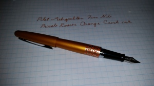 Orange Pilot Metropolitan fountain en\\pen with sample writing