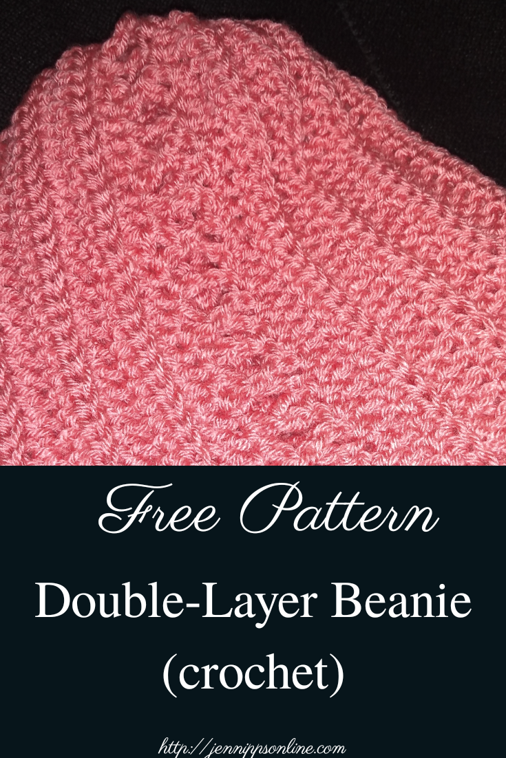 Free Pattern: Double Layer  Beanie (Crochet) Pinterest graphic